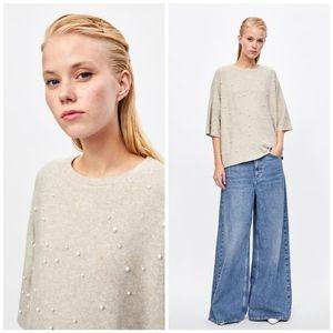Zara Trafaluc Soft Touch Pearl Oversized Sweater
